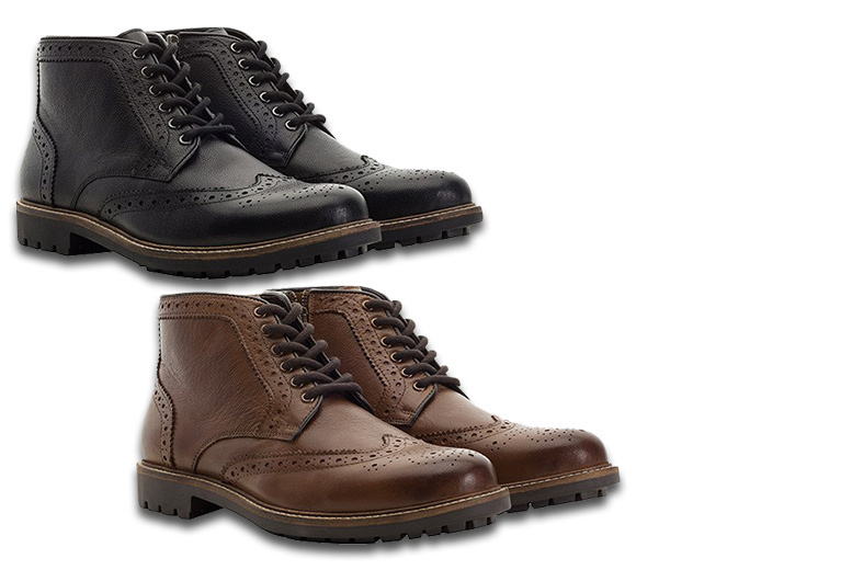 Bargain £34.99 instead of £140 for a pair of men's brogue boots - choose black or brown from Redfoot - save 75% Stockists