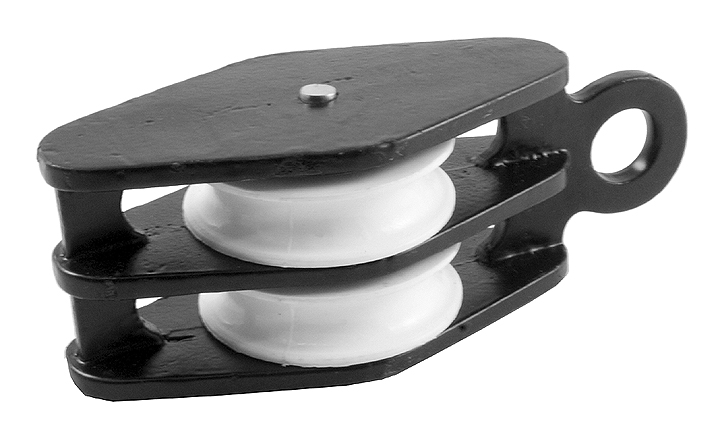 Stockists of 1.5in Twin Awning Pulley Black Japanned