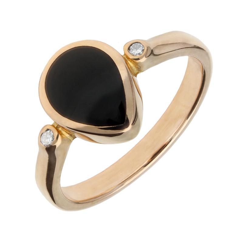 Bargain 18ct Rose Gold Whitby Jet 0.04ct Diamond Pear Ring Stockists