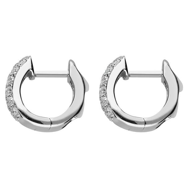 Bargain 18ct White Gold 0.67ct Diamond Cut Out Heart Pave Set Hoop Earrings Stockists