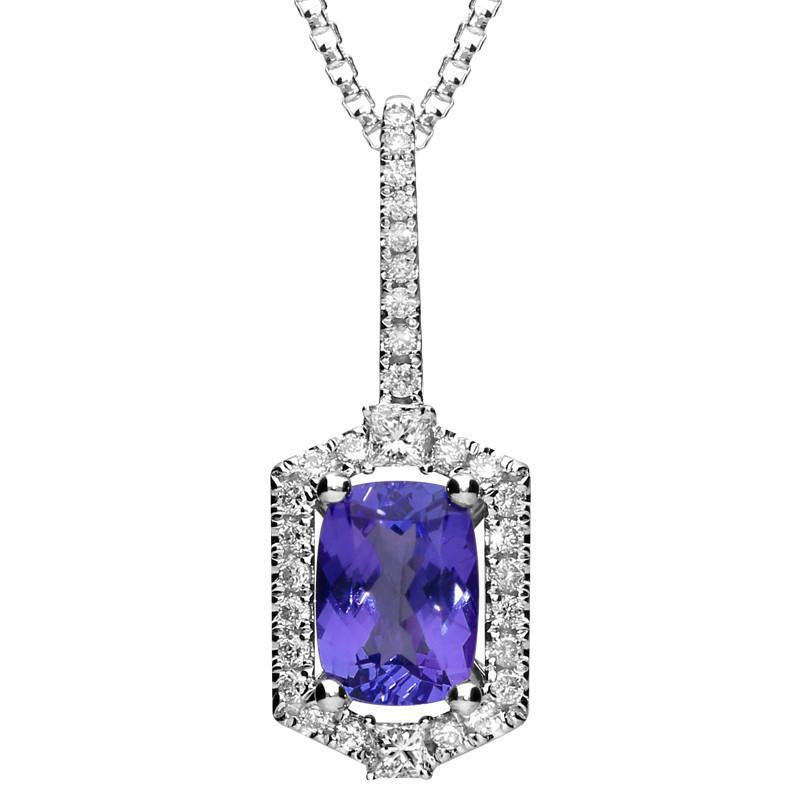 Bargain 18ct White Gold 1.04ct Tanzanite 0.23 Carat Diamond Cluster Necklace Stockists