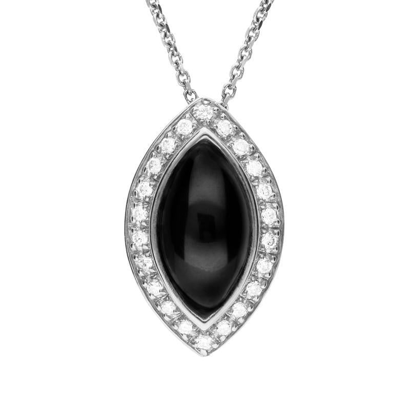 Bargain 18ct White Gold Whitby Jet 0.14ct Diamond Marquise Necklace Stockists