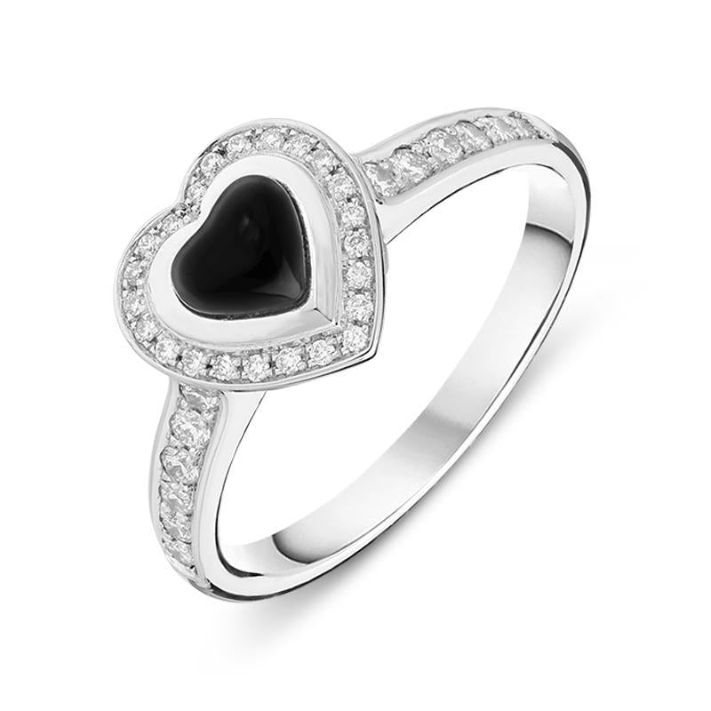 Bargain 18ct White Gold Whitby Jet 0.24ct Diamond Shoulder Heart Ring Stockists