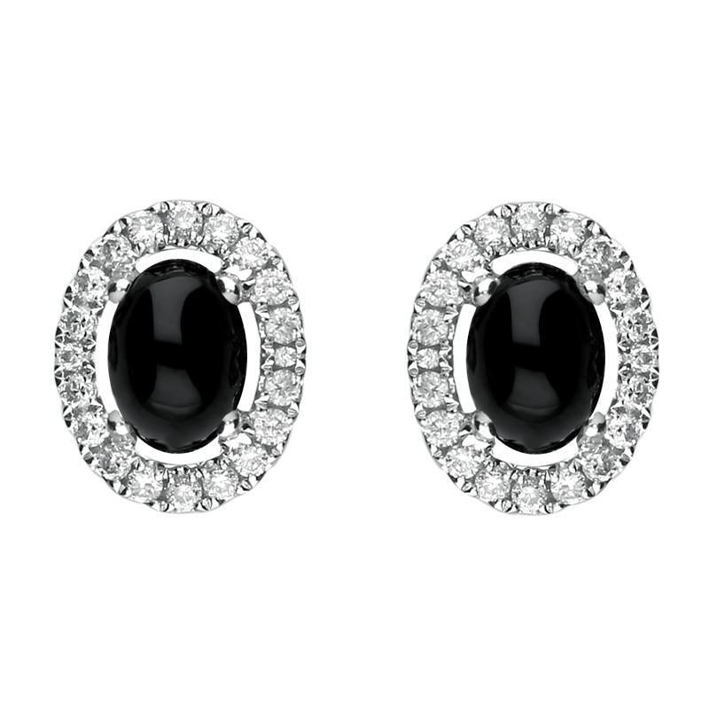 Bargain 18ct White Gold Whitby Jet 0.40ct Diamond Oval Stud Earrings Stockists