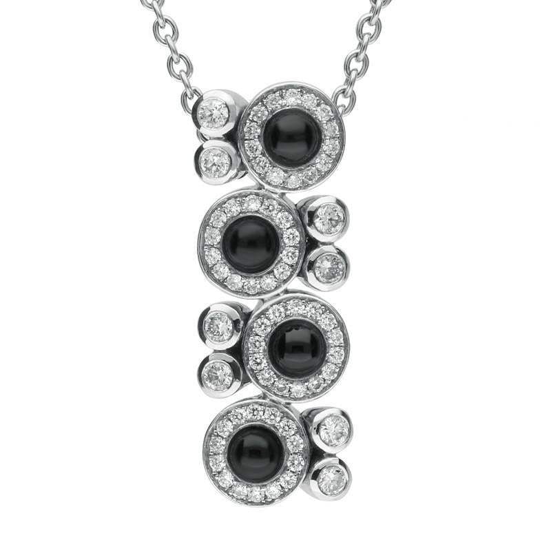 Bargain 18ct White Gold Whitby Jet 0.50ct Diamond Cascade Necklace Stockists