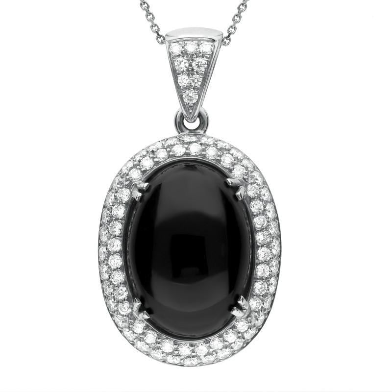 Bargain 18ct White Gold Whitby Jet 1.57ct Diamond Large Oval Necklace Stockists