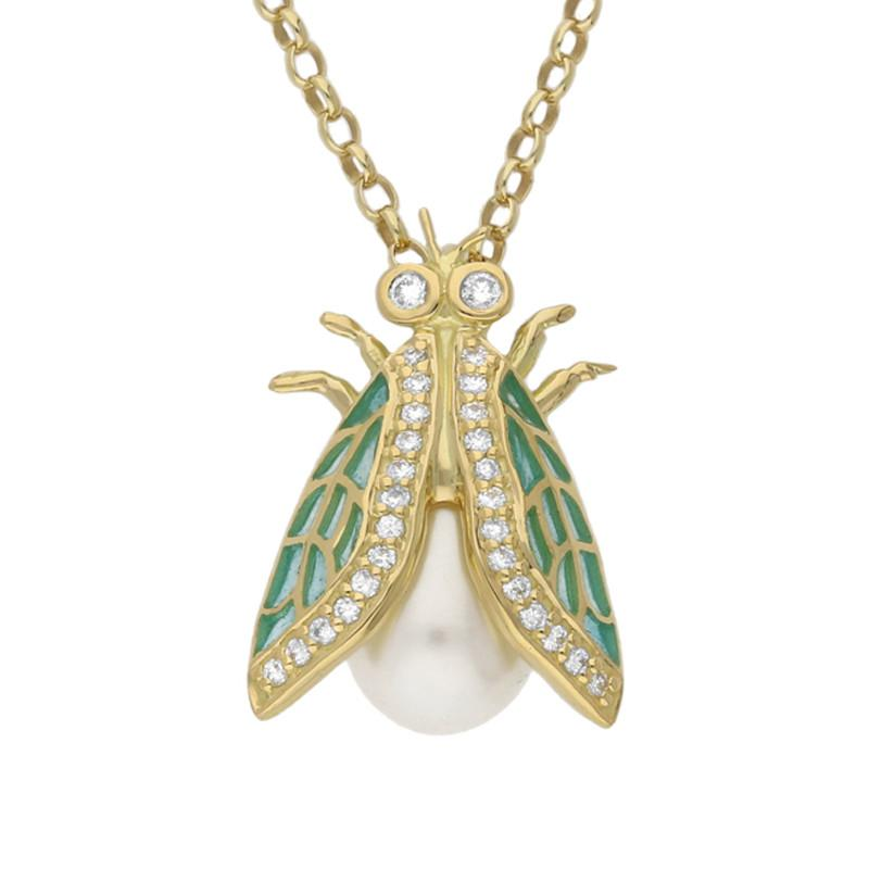 Bargain 18ct Yellow Gold Pearl Diamond Enamel House Style Fly Necklace Stockists