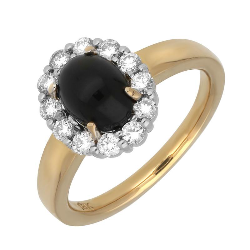 Bargain 18ct Yellow Gold Whitby Jet 0.40ct Diamond Oval Claw Cluster Ring Stockists