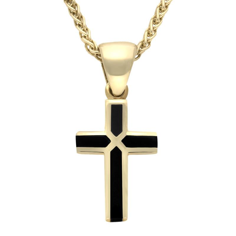 Bargain 18ct Yellow Gold Whitby Jet Cross Necklace Stockists