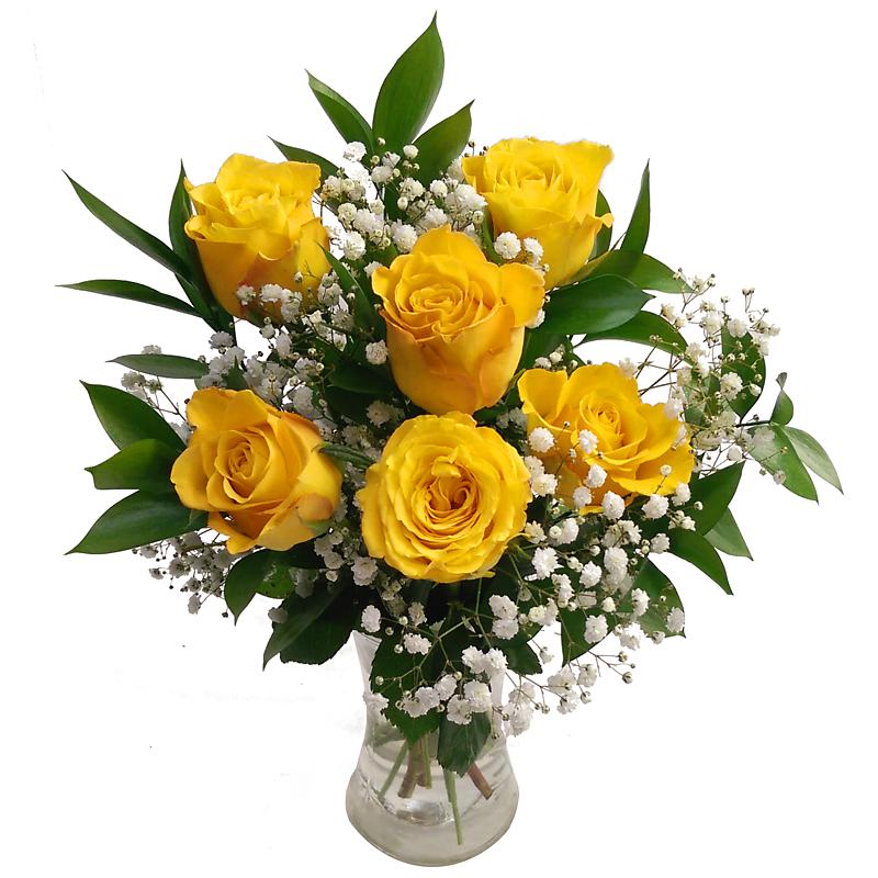 Stockists of 6 Yellow Roses Bouquet