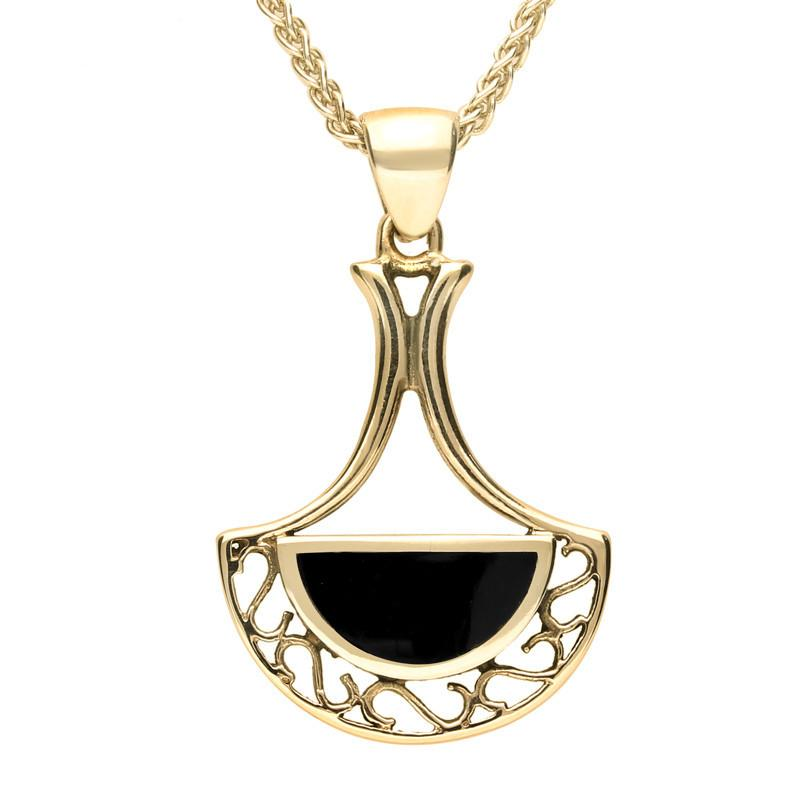 Bargain 9ct Yellow Gold Whitby Jet Art Deco Fan Necklace Stockists