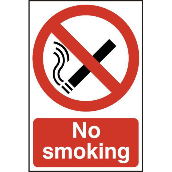 "Bargain ASEC ""No Smoking"" 200mm x 300mm PVC Self Adhesive Sign Stockists"
