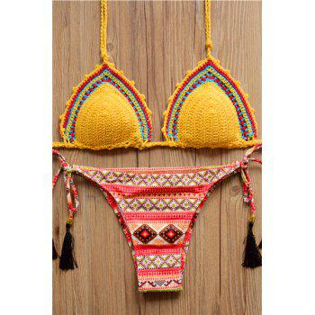 Bargain Alluring Women's Halter Tribal Print Lace-Up Crochet Bikini Set Stockists