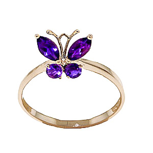 Bargain Amethyst Butterfly Ring 0.6ctw in 9ct Gold Stockists