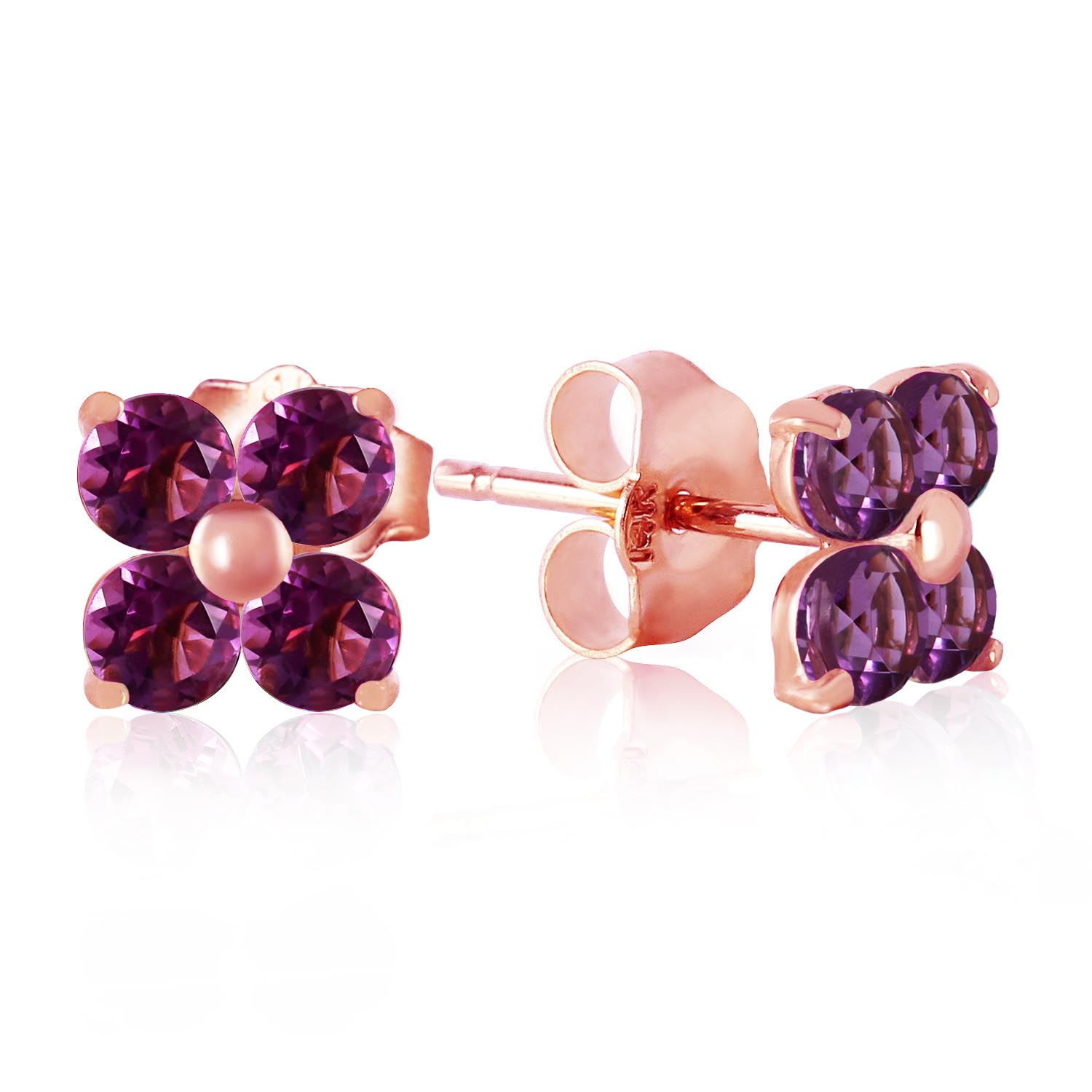 Bargain Amethyst Clover Stud Earrings 1.15ctw in 9ct Rose Gold Stockists