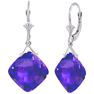Bargain Amethyst Deflection Drop Earrings 17.5ctw in 9ct White Gold Stockists
