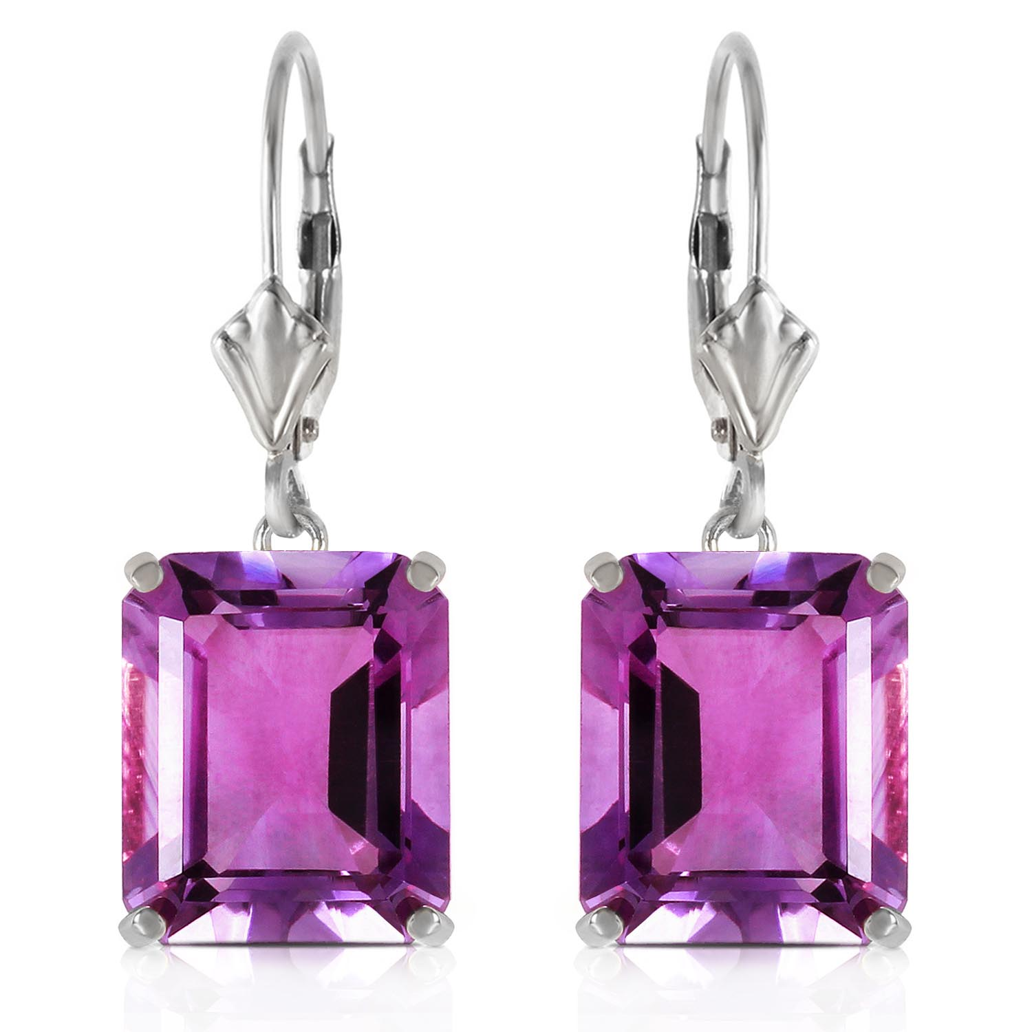 Bargain Amethyst Drop Earrings 13.0ctw in 9ct White Gold Stockists