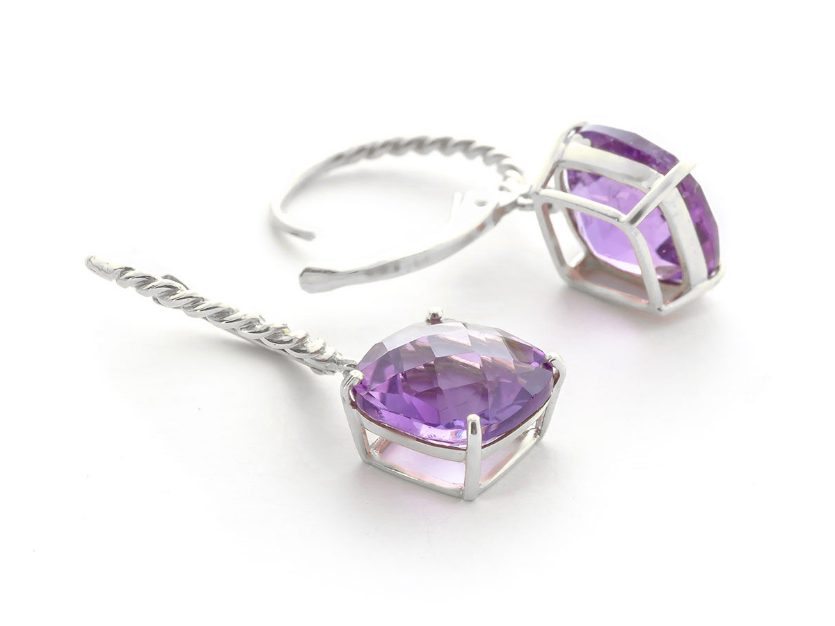 Bargain Amethyst Rococo Twist Drop Earrings 7.2ctw in 9ct White Gold Stockists
