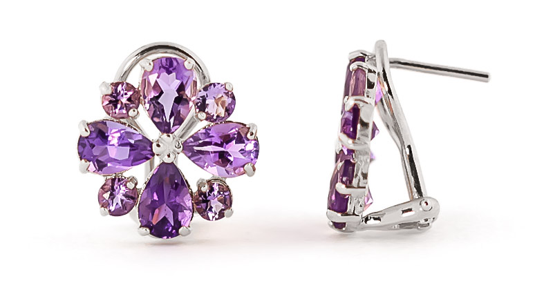Bargain Amethyst Sunflower Stud Earrings 4.85ctw in 9ct White Gold Stockists