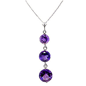 Bargain Amethyst Trinity Pendant Necklace 3.6ctw in 9ct White Gold Stockists