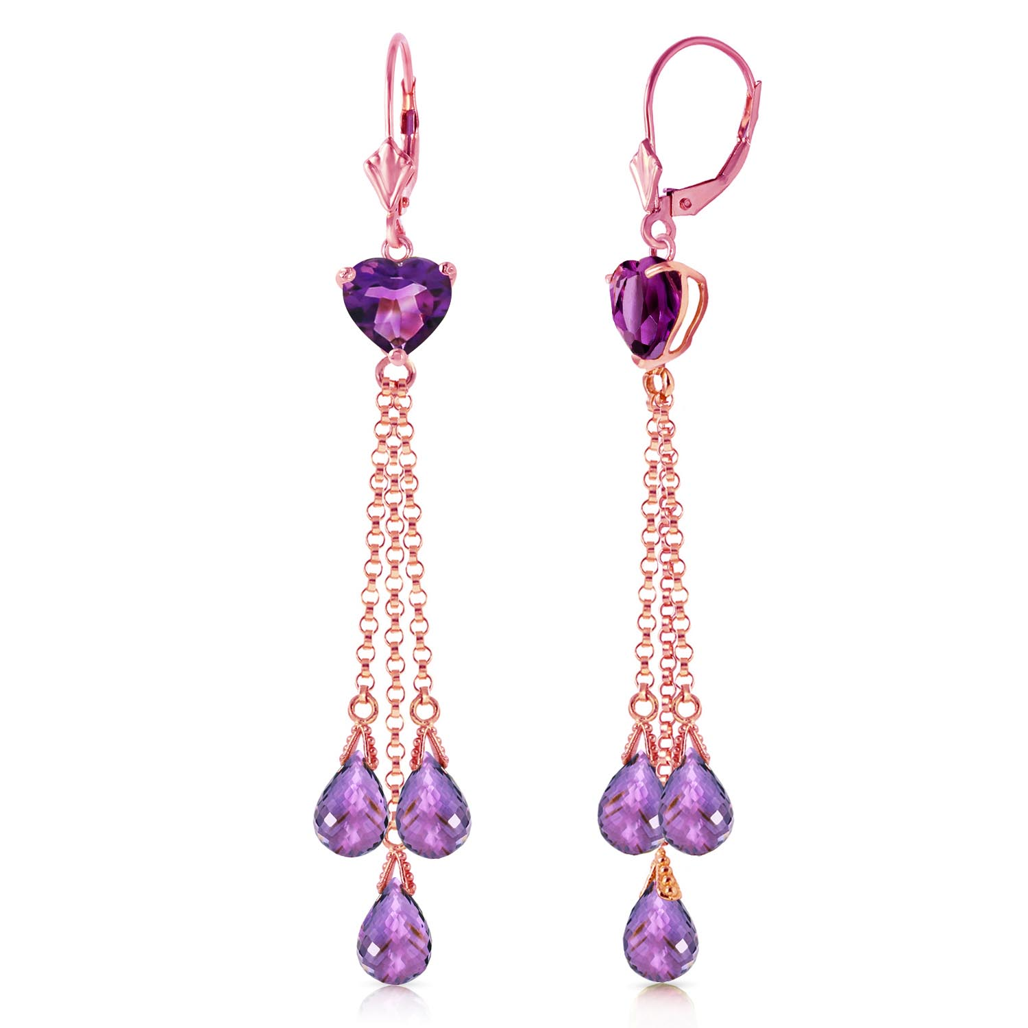 Bargain Amethyst Vestige Heart Drop Earrings 9.5ctw in 9ct Rose Gold Stockists
