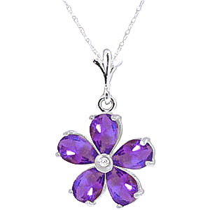 Bargain Amethyst and Diamond Flower Petal Pendant Necklace 2.2ctw in 9ct White Gold Stockists