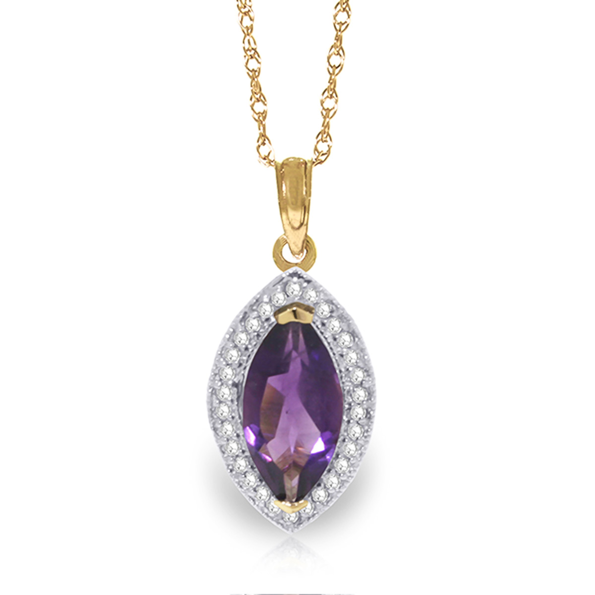 Bargain Amethyst and Diamond Halo Pendant Necklace 1.65ct in 9ct Gold Stockists