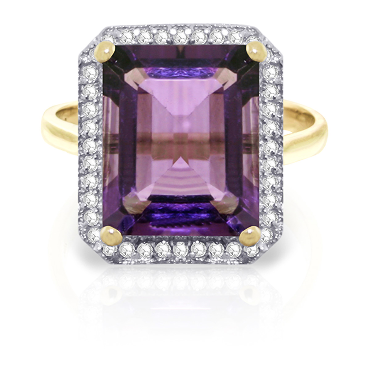 Bargain Amethyst and Diamond Halo Ring 5.6ct in 9ct Gold Stockists