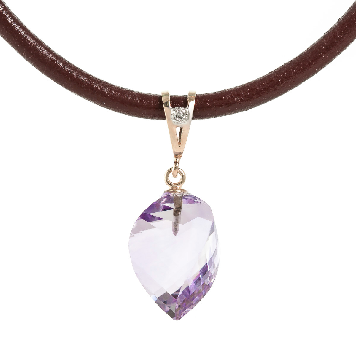 Bargain Amethyst and Diamond Leather Pendant Necklace 10.75ct in 9ct Rose Gold Stockists