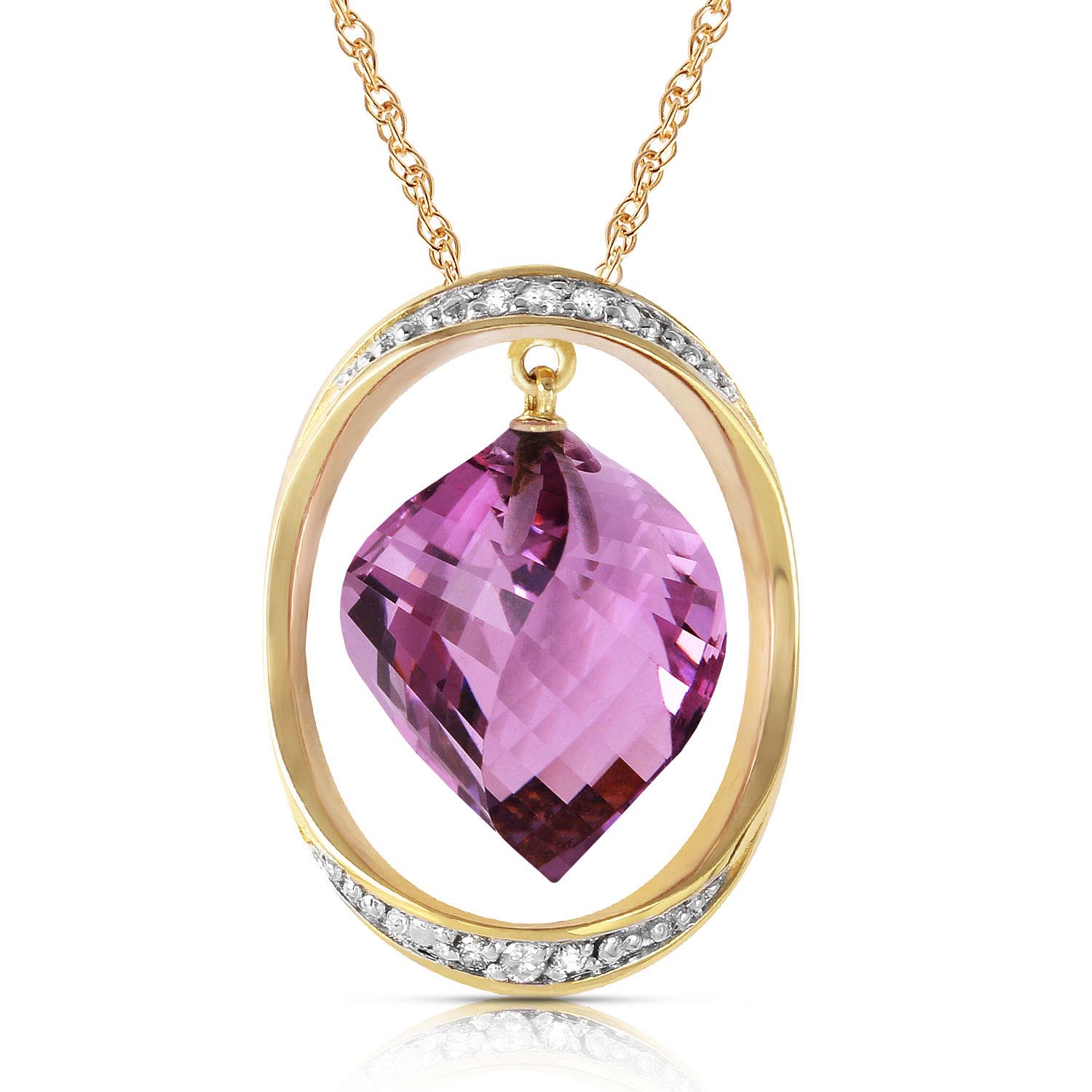 Bargain Amethyst and Diamond Pendant Necklace 10.75ct in 9ct Gold Stockists