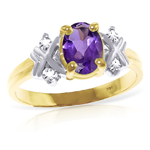 Bargain Amethyst and Diamond Ring 0.85ct in 9ct Gold Stockists