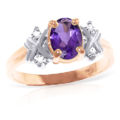 Bargain Amethyst and Diamond Ring 0.85ct in 9ct Rose Gold Stockists