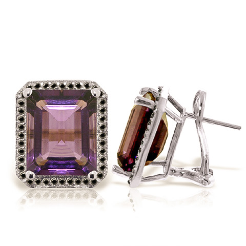 Bargain Amethyst and Diamond Stud French Clip Halo Earrings 11.2ctw in 9ct White Gold Stockists