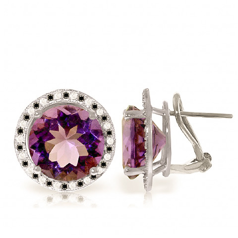 Bargain Amethyst and Diamond Stud French Clip Halo Earrings 12.0ctw in 9ct White Gold Stockists