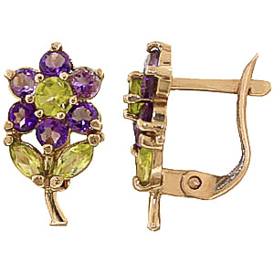 Bargain Amethyst and Peridot Flower Petal Stud Earrings 2.12ctw in 9ct Gold Stockists