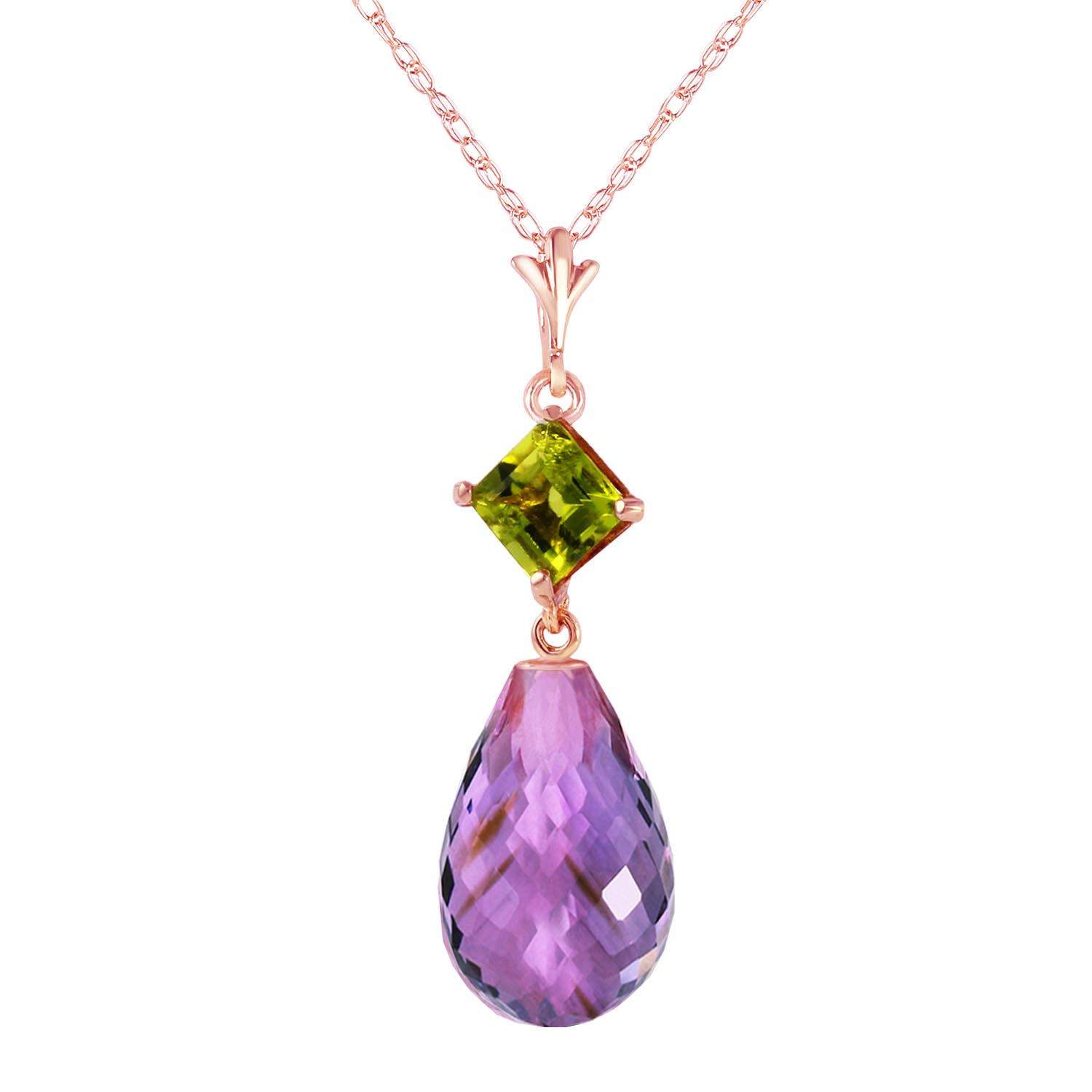 Bargain Amethyst and Peridot Pendant Necklace 5.5ctw in 9ct Rose Gold Stockists