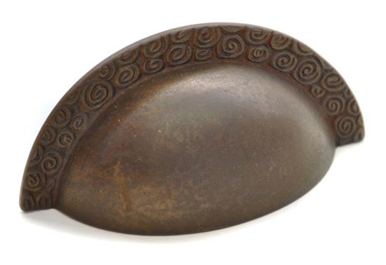 Bargain Antique Bronze Nautilus Edged Drawer Pull Stockists