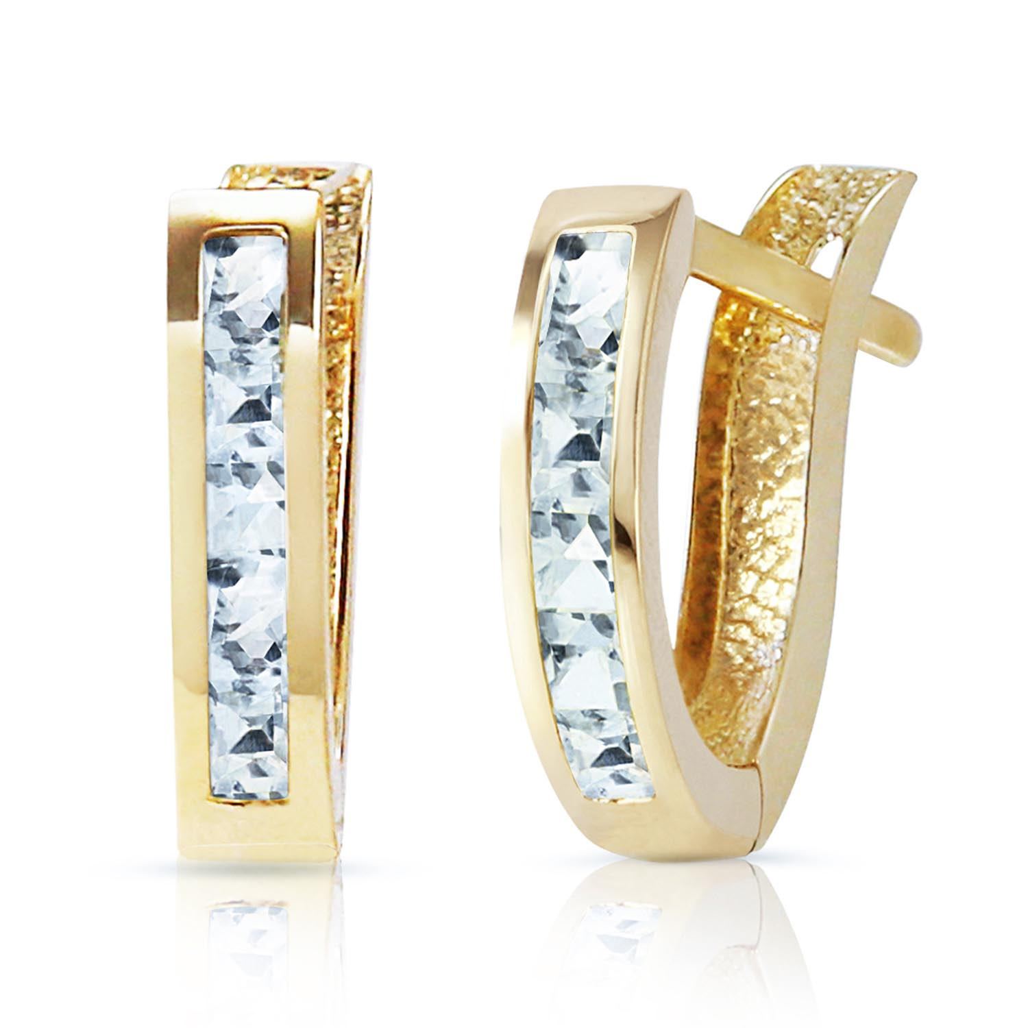 Bargain Aquamarine Acute Huggie Earrings 0.85ctw in 9ct Gold Stockists
