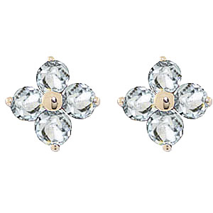 Bargain Aquamarine Clover Stud Earrings 1.15ctw in 9ct Gold Stockists