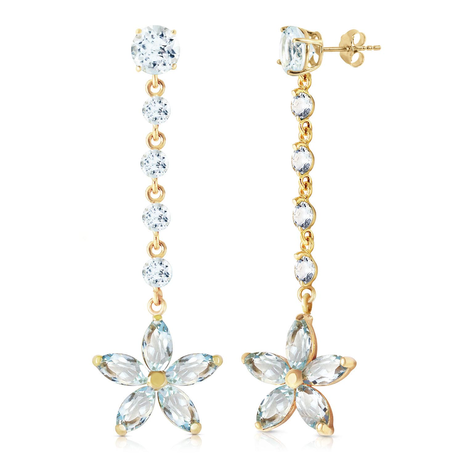 Bargain Aquamarine Daisy Chain Drop Earrings 4.8ctw in 9ct Gold Stockists