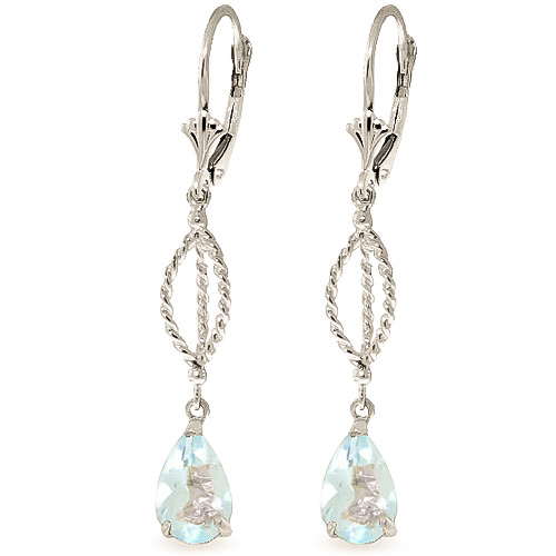 Bargain Aquamarine Sceptre Drop Earrings 3.0ctw in 9ct White Gold Stockists