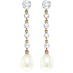 Bargain Aquamarine and Pearl by the Yard Drop Earrings 10.0ctw in 9ct Gold Stockists