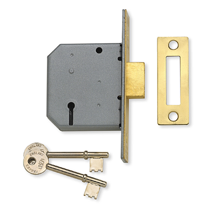 Stockists of Assa Abloy 2.5IN Mortice DeadLock 3 Lever Polished Brass