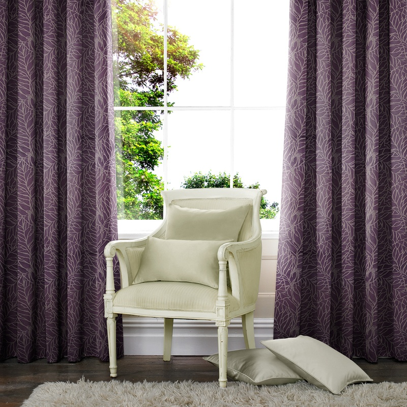 Stockists of Aubergine Foliage Made to Measure Curtains