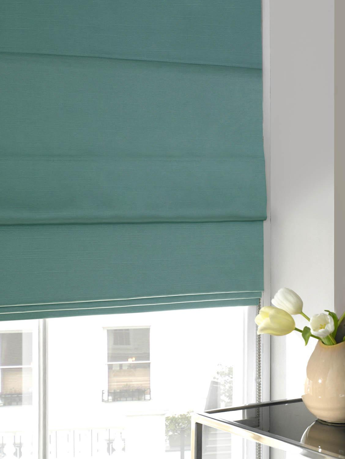Bargain Azure Faux Silk Roman Blind Stockists