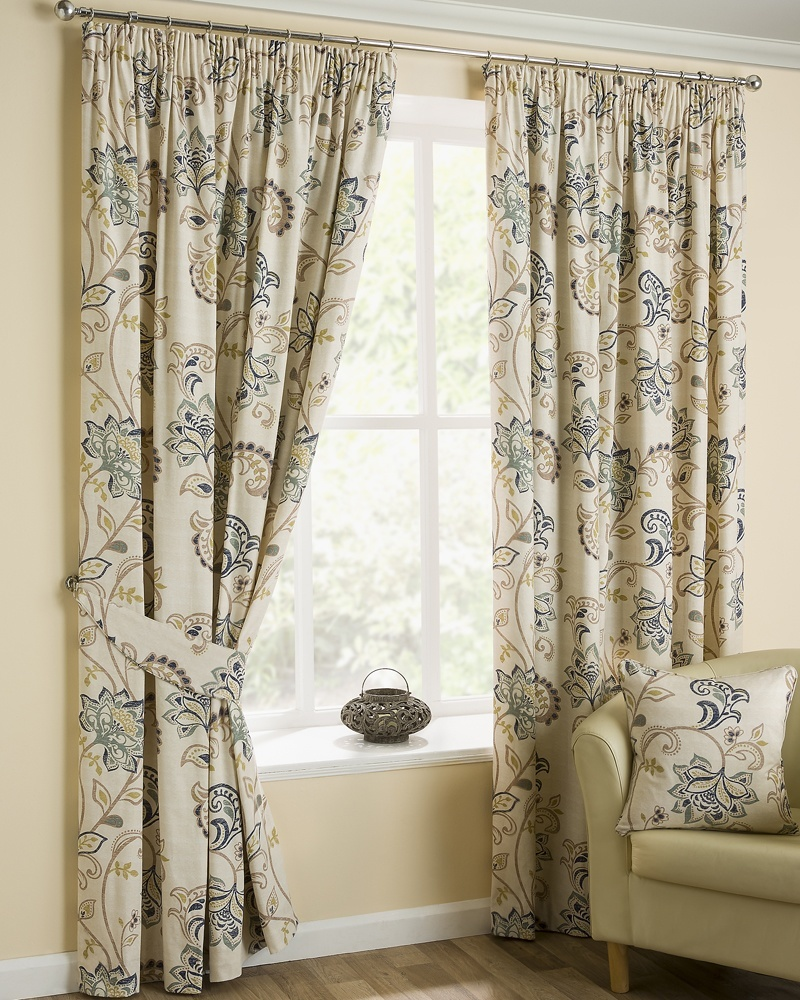 Bargain Azure Jacobean Ready Made Lined Curtains Stockists