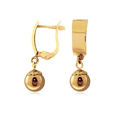 Bargain Ball Huggie Drop Earrings in 9ct Gold Stockists