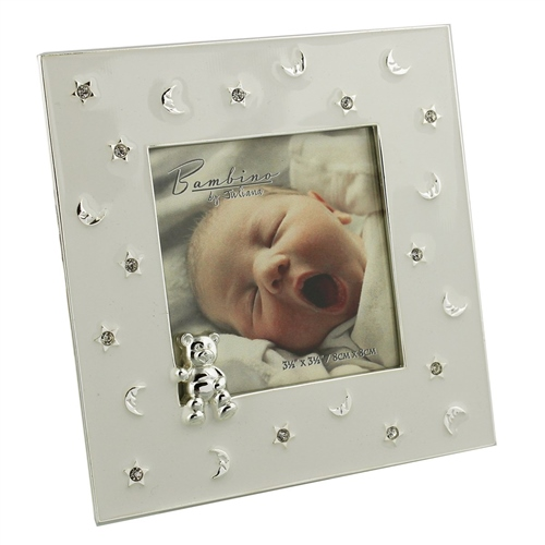 Bargain Bambino Silver Plated Frame Stars & Moon Teddy 3x3 Stockists