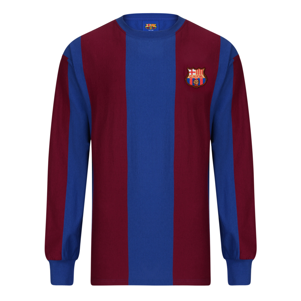 Bargain Barcelona 1974 Long Sleeve Retro Football Shirt Stockists