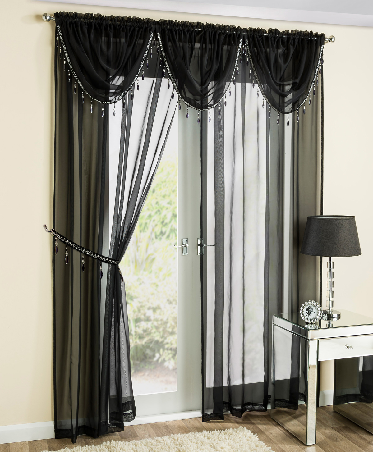 Bargain Black Crystal Voile Panel Stockists